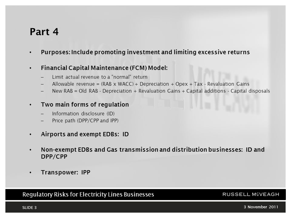 Regulatory Risks for Electricity Lines Businesses 3 November 2011 SLIDE 14 3.