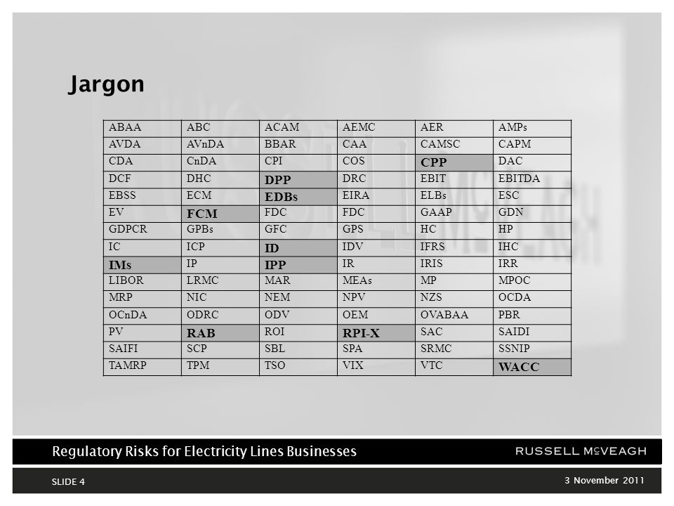 Regulatory Risks for Electricity Lines Businesses 3 November 2011 SLIDE 4 Jargon ABAAABCACAMAEMCAERAMPs AVDAAVnDABBARCAACAMSCCAPM CDACnDACPICOS CPP DAC DCFDHC DPP DRCEBITEBITDA EBSSECM EDBs EIRAELBsESC EV FCM FDC GAAPGDN GDPCRGPBsGFCGPSHCHP ICICP ID IDVIFRSIHC IMs IP IPP IRIRISIRR LIBORLRMCMARMEAsMPMPOC MRPNICNEMNPVNZSOCDA OCnDAODRCODVOEMOVABAAPBR PV RAB ROI RPI-X SACSAIDI SAIFISCPSBLSPASRMCSSNIP TAMRPTPMTSOVIXVTC WACC