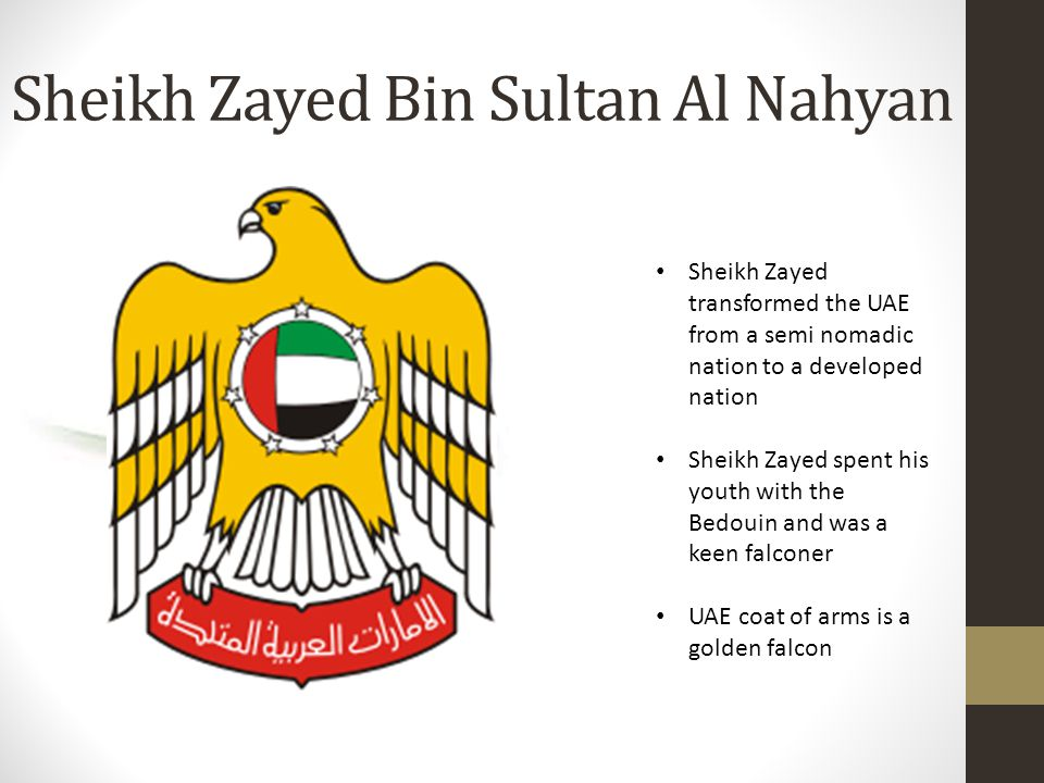 Sheikh Zayed Bin Sultan Al Nahyan Sheikh Zayed transformed the UAE from a semi nomadic nation to a developed nation Sheikh Zayed spent his youth with the Bedouin and was a keen falconer UAE coat of arms is a golden falcon