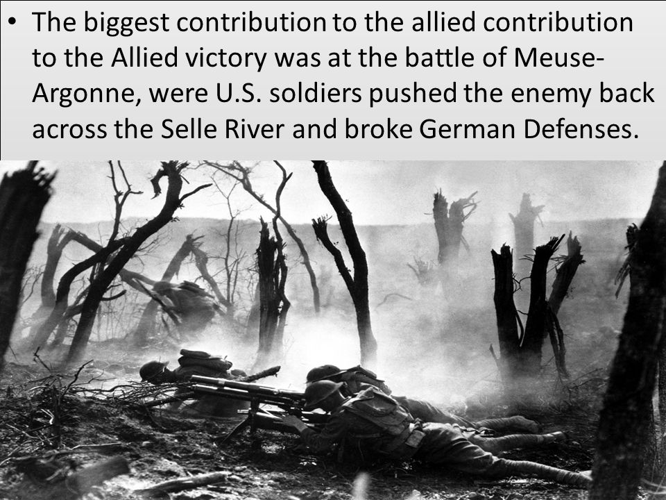 The biggest contribution to the allied contribution to the Allied victory was at the battle of Meuse- Argonne, were U.S.