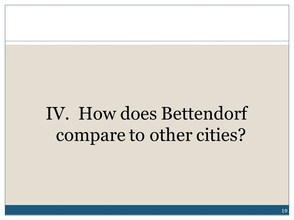 IV. How does Bettendorf compare to other cities 19