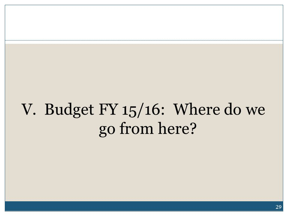 29 V. Budget FY 15/16: Where do we go from here