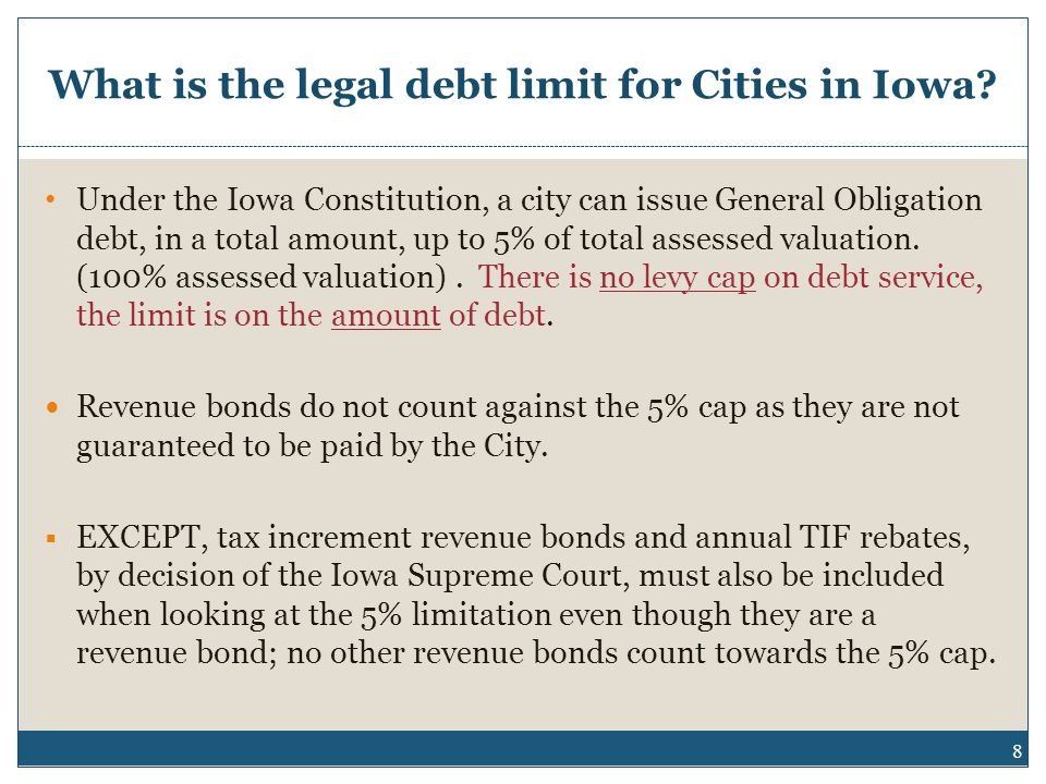 What is the legal debt limit for Cities in Iowa.