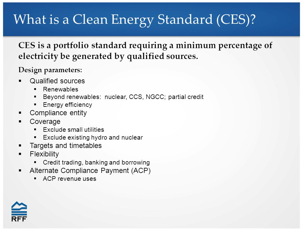 CES is a portfolio standard requiring a minimum percentage of electricity be generated by qualified sources.