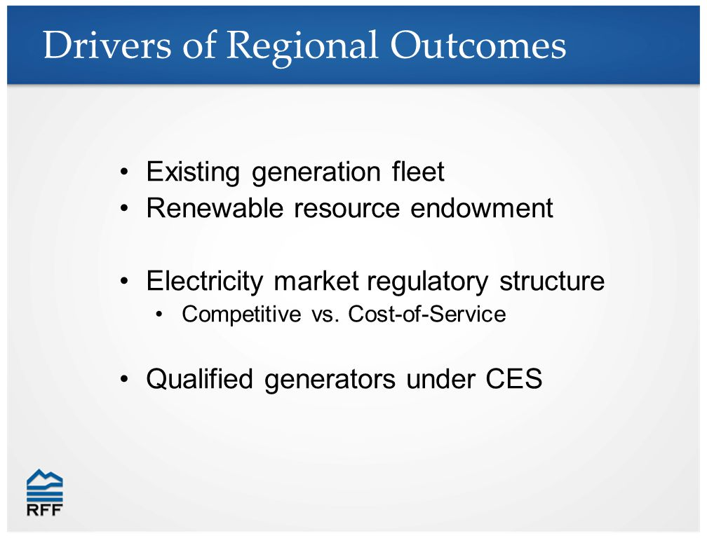 Drivers of Regional Outcomes Existing generation fleet Renewable resource endowment Electricity market regulatory structure Competitive vs.