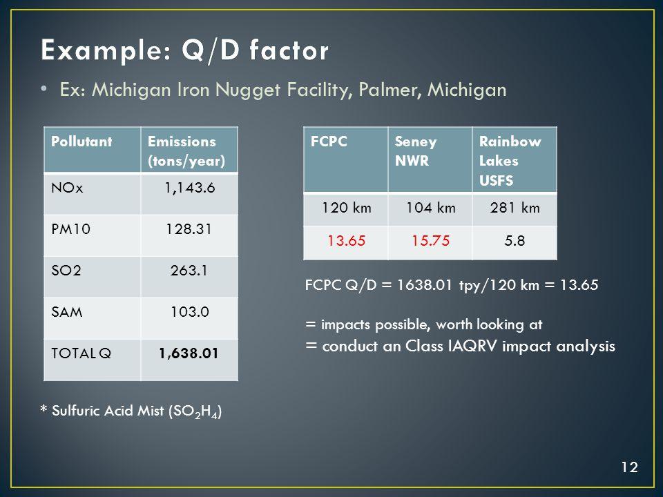 12 Ex: Michigan Iron Nugget Facility, Palmer, Michigan PollutantEmissions (tons/year) NOx1,143.6 PM10128.31 SO2263.1 SAM103.0 TOTAL Q1,638.01 FCPCSene