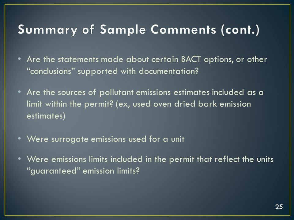 """25 Are the statements made about certain BACT options, or other """"conclusions"""" supported with documentation? Are the sources of pollutant emissions est"""