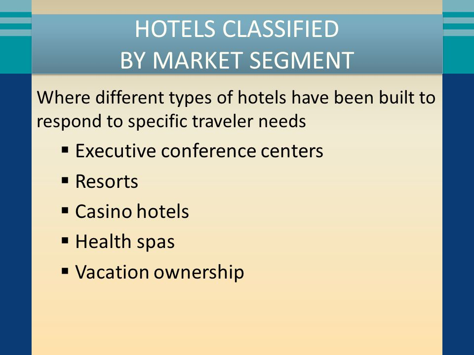 HOTELS CLASSIFIED BY MARKET SEGMENT Where different types of hotels have been built to respond to specific traveler needs  Executive conference centers  Resorts  Casino hotels  Health spas  Vacation ownership