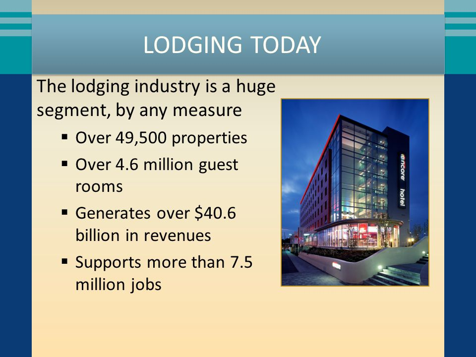 LODGING TODAY The lodging industry is a huge segment, by any measure  Over 49,500 properties  Over 4.6 million guest rooms  Generates over $40.6 bi