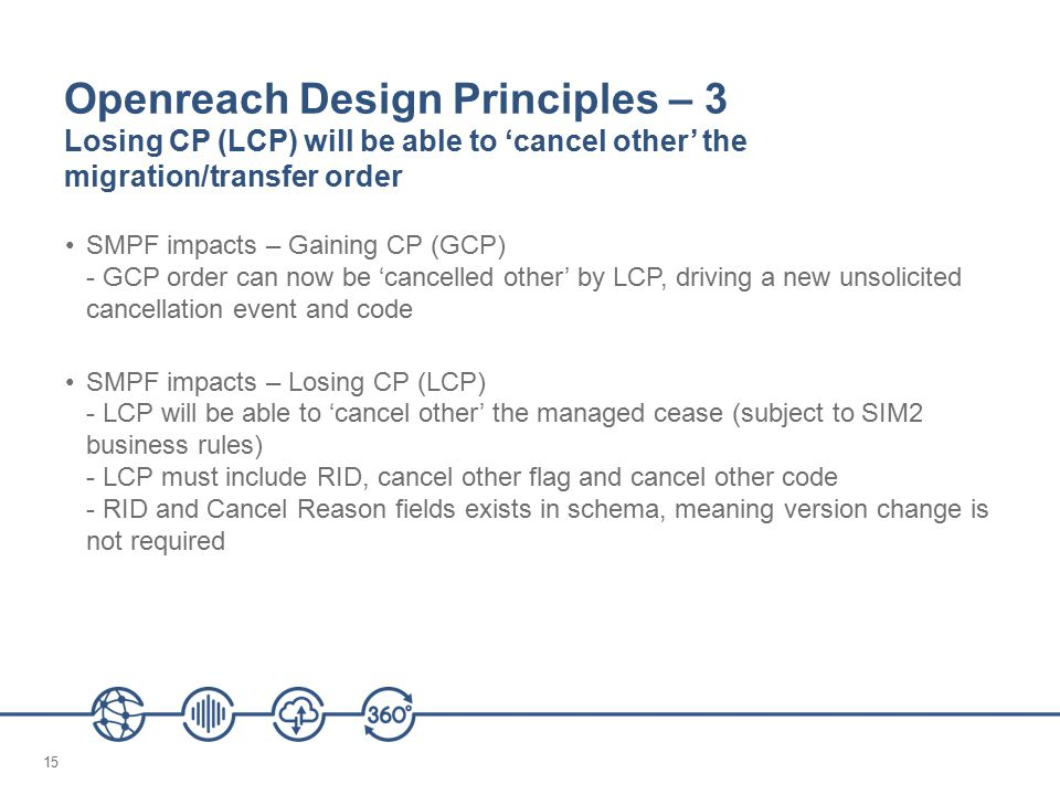 15 Openreach Design Principles – 3 Losing CP (LCP) will be able to 'cancel other' the migration/transfer order SMPF impacts – Gaining CP (GCP) - GCP order can now be 'cancelled other' by LCP, driving a new unsolicited cancellation event and code SMPF impacts – Losing CP (LCP) - LCP will be able to 'cancel other' the managed cease (subject to SIM2 business rules) - LCP must include RID, cancel other flag and cancel other code - RID and Cancel Reason fields exists in schema, meaning version change is not required