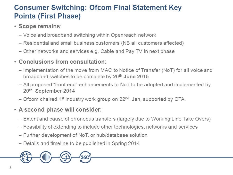 14 Openreach Design Principles – 3 Losing CP (LCP) will be able to 'cancel other' the migration/transfer order No changes to interface or basic business process to WLR and MPF - harmonized Cancellation codes will be implemented across existing processes (see principle 6)
