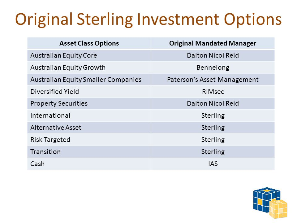 Original Sterling Investment Options Asset Class OptionsOriginal Mandated Manager Australian Equity CoreDalton Nicol Reid Australian Equity GrowthBennelong Australian Equity Smaller CompaniesPaterson's Asset Management Diversified YieldRIMsec Property SecuritiesDalton Nicol Reid InternationalSterling Alternative AssetSterling Risk TargetedSterling TransitionSterling CashIAS