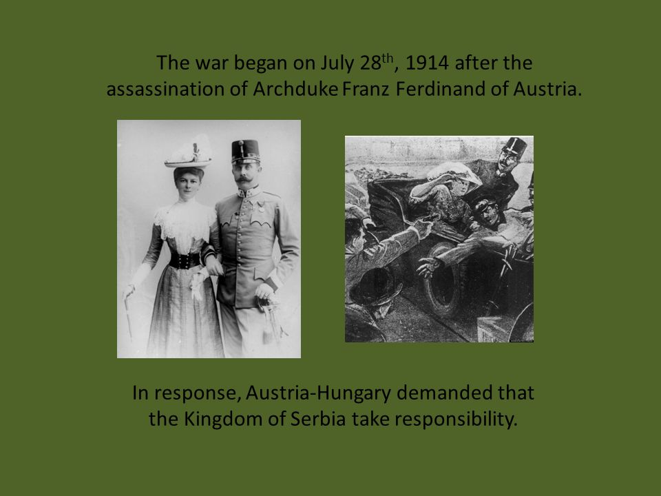 The war began on July 28 th, 1914 after the assassination of Archduke Franz Ferdinand of Austria. In response, Austria-Hungary demanded that the Kingd