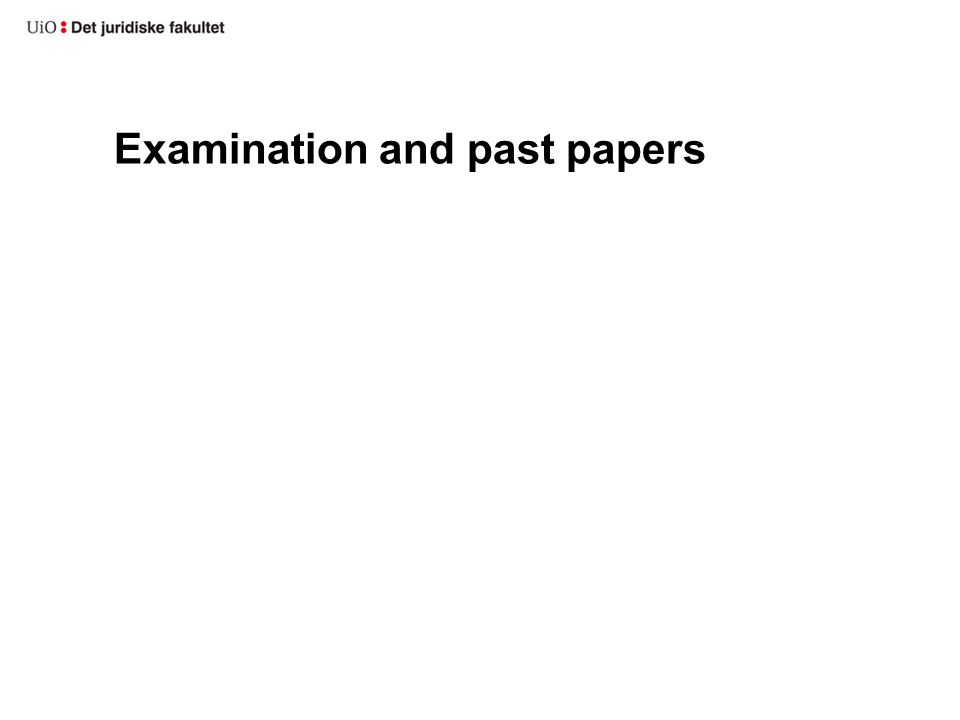 Examination and past papers