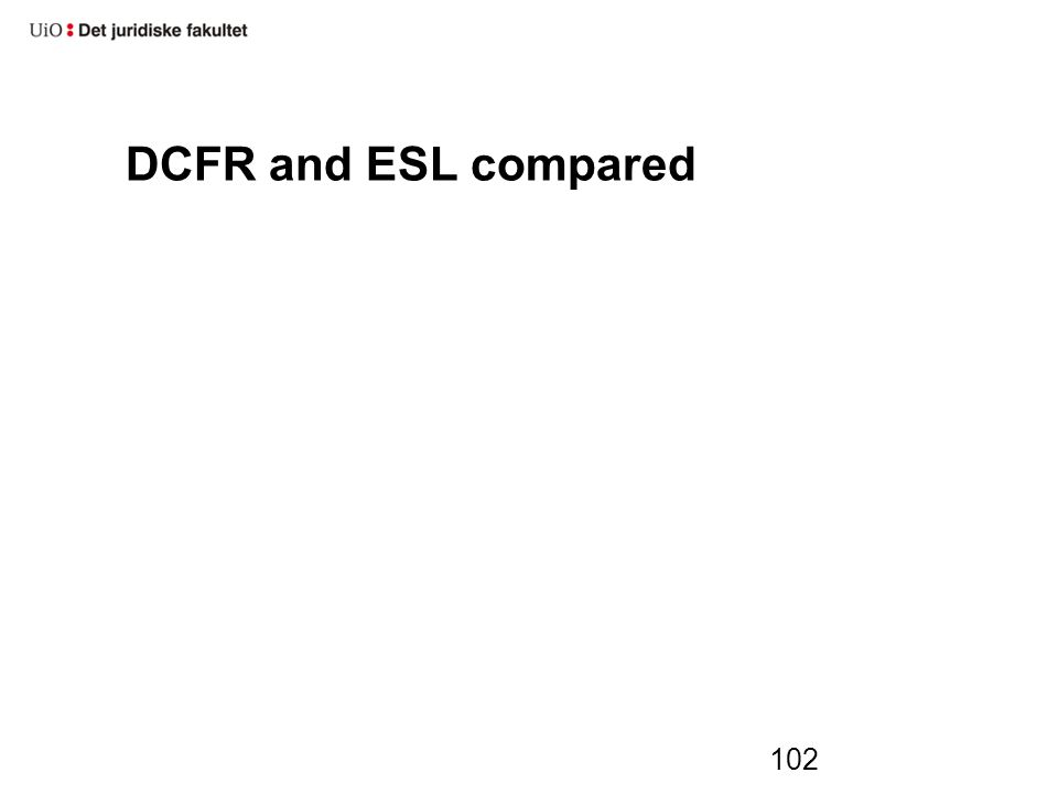 DCFR and ESL compared 102