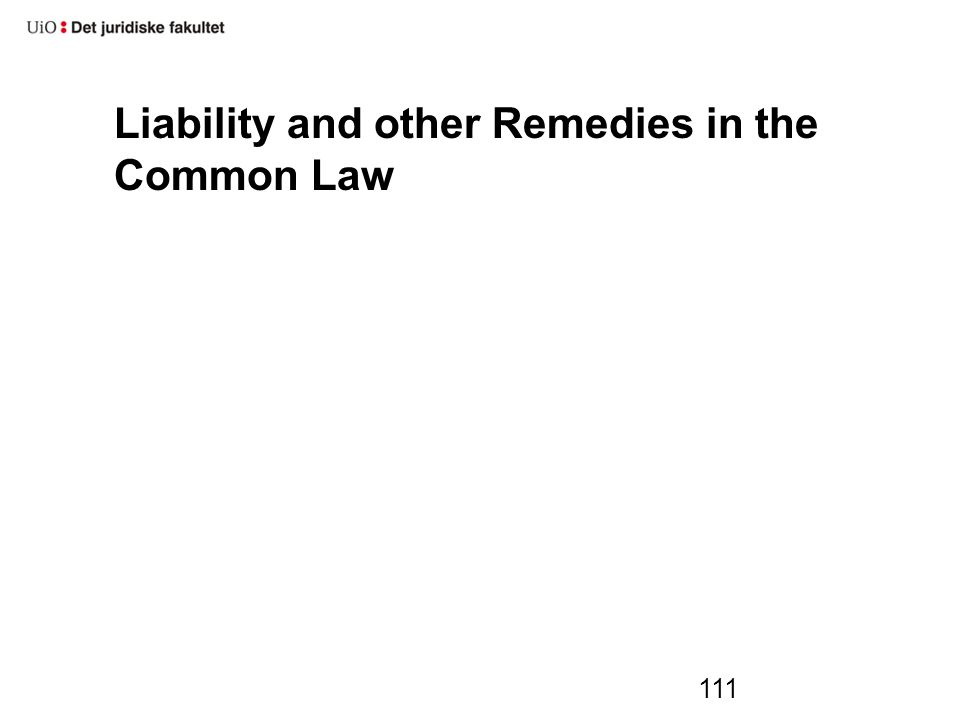 Liability and other Remedies in the Common Law 111