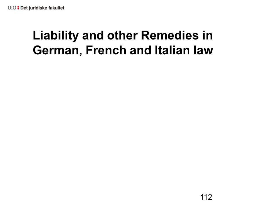 Liability and other Remedies in German, French and Italian law 112