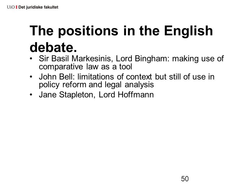 50 The positions in the English debate.