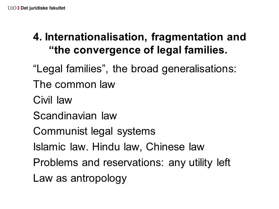 4.Internationalisation, fragmentation and the convergence of legal families.
