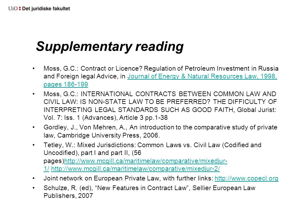 Supplementary reading Moss, G.C.: Contract or Licence.
