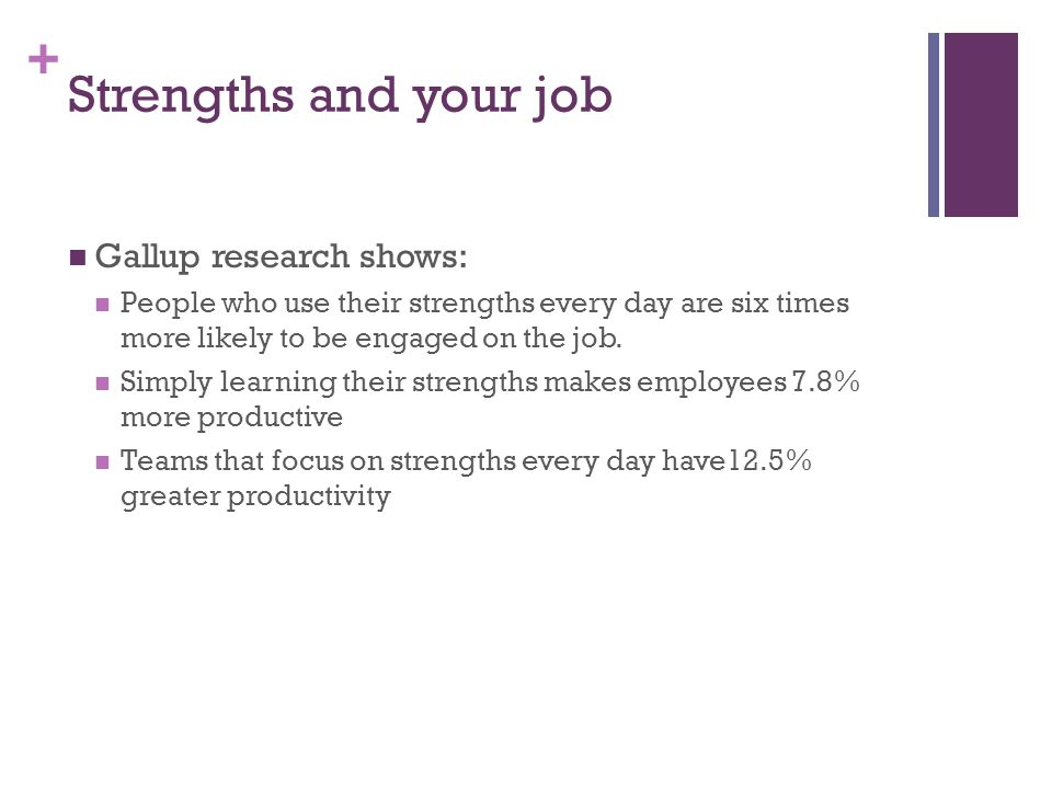 + Strengths and your job Gallup research shows: People who use their strengths every day are six times more likely to be engaged on the job.