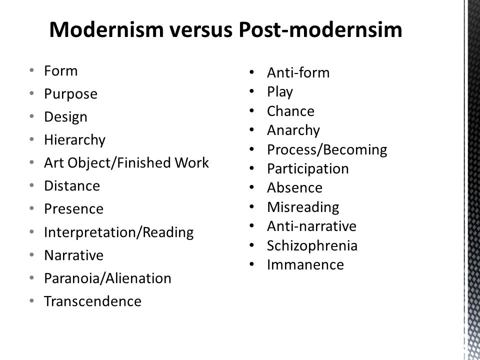 Form Purpose Design Hierarchy Art Object/Finished Work Distance Presence Interpretation/Reading Narrative Paranoia/Alienation Transcendence Anti-form Play Chance Anarchy Process/Becoming Participation Absence Misreading Anti-narrative Schizophrenia Immanence Modernism versus Post-modernsim