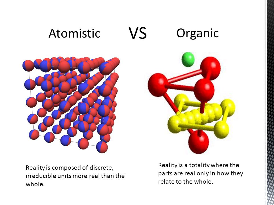 Atomistic Organic Reality is composed of discrete, irreducible units more real than the whole.