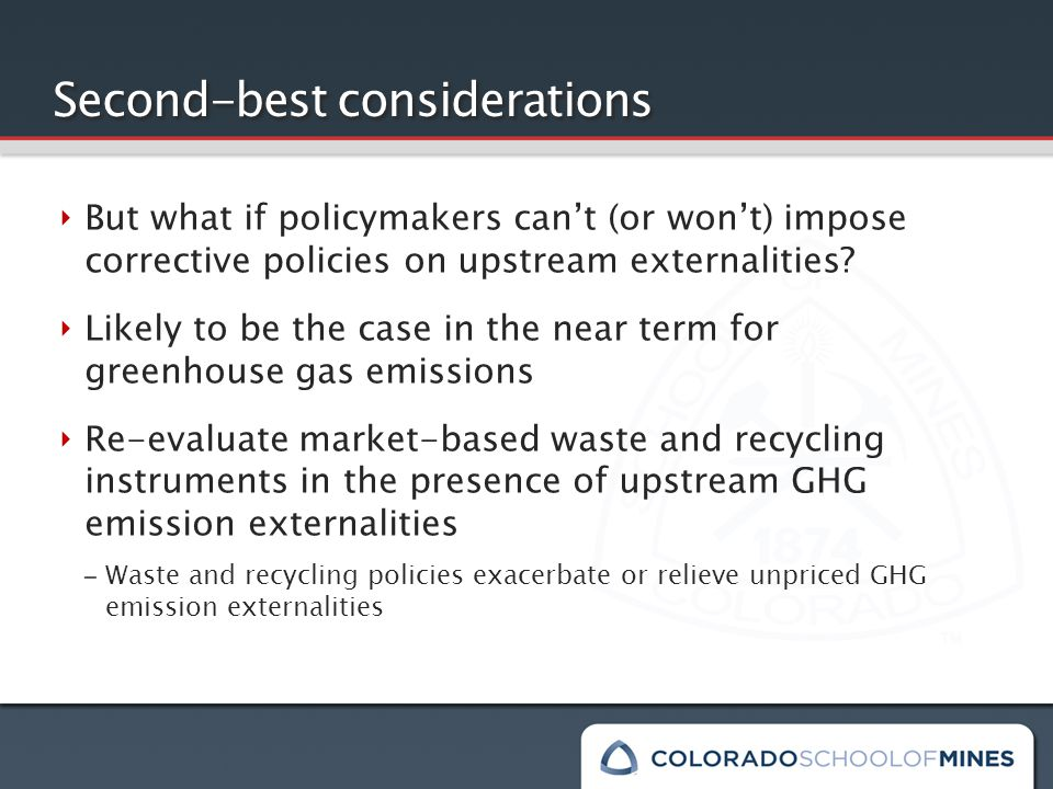 Second-best considerations ‣ But what if policymakers can't (or won't) impose corrective policies on upstream externalities.