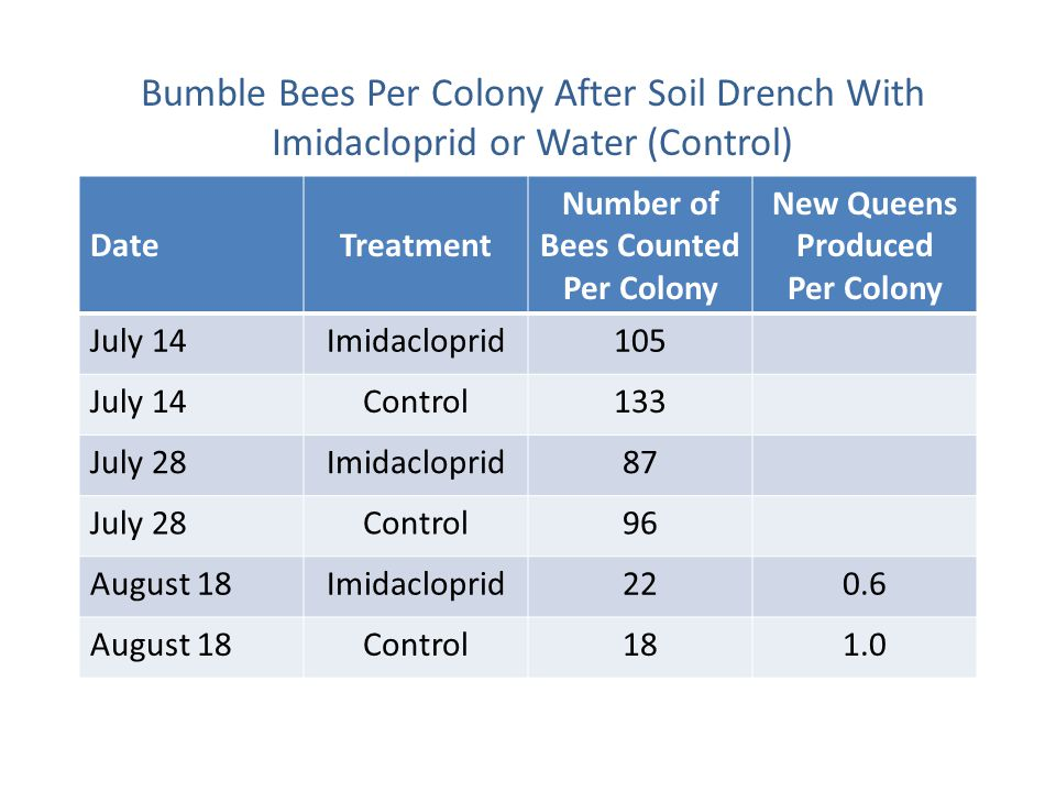 DateTreatment Number of Bees Counted Per Colony New Queens Produced Per Colony July 14Imidacloprid105 July 14Control133 July 28Imidacloprid87 July 28Control96 August 18Imidacloprid220.6 August 18Control181.0 Bumble Bees Per Colony After Soil Drench With Imidacloprid or Water (Control)