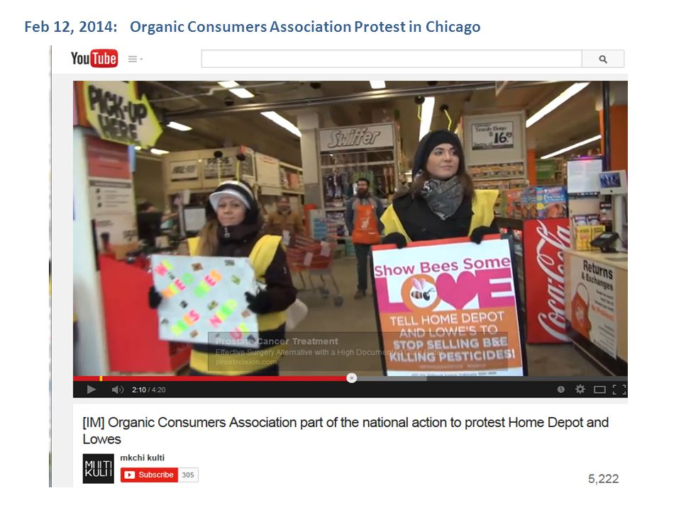 Organic Consumers Association Protest in Chicago at a Home Depot Feb 12, 2014