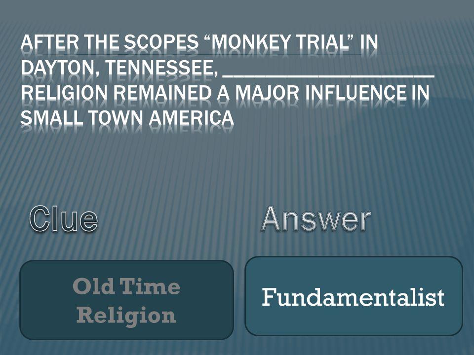 Old Time Religion Fundamentalist