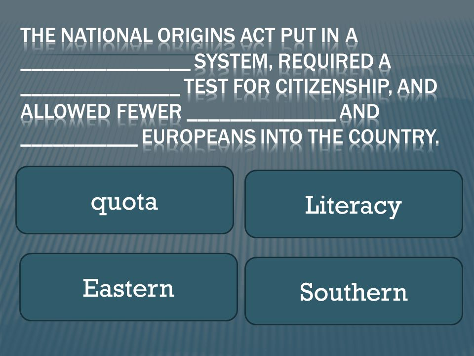 quota Literacy Eastern Southern