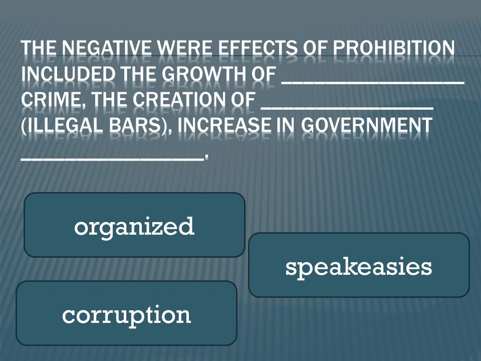 organized speakeasies corruption