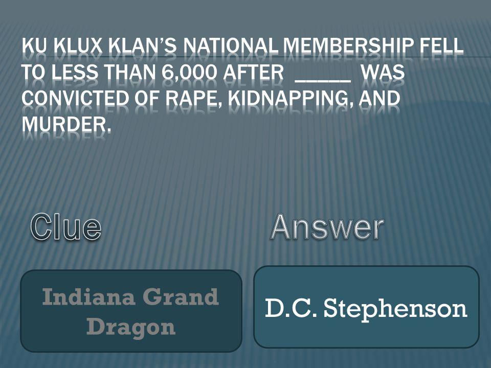 Indiana Grand Dragon D.C. Stephenson