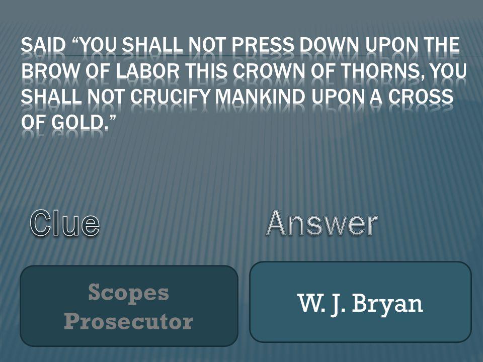 Scopes Prosecutor W. J. Bryan