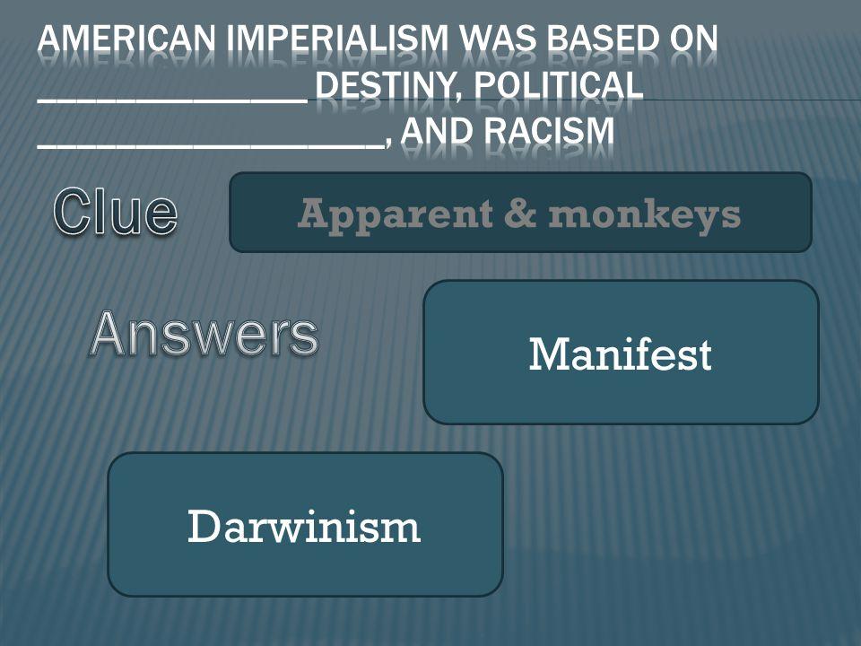 Apparent & monkeys Manifest Darwinism