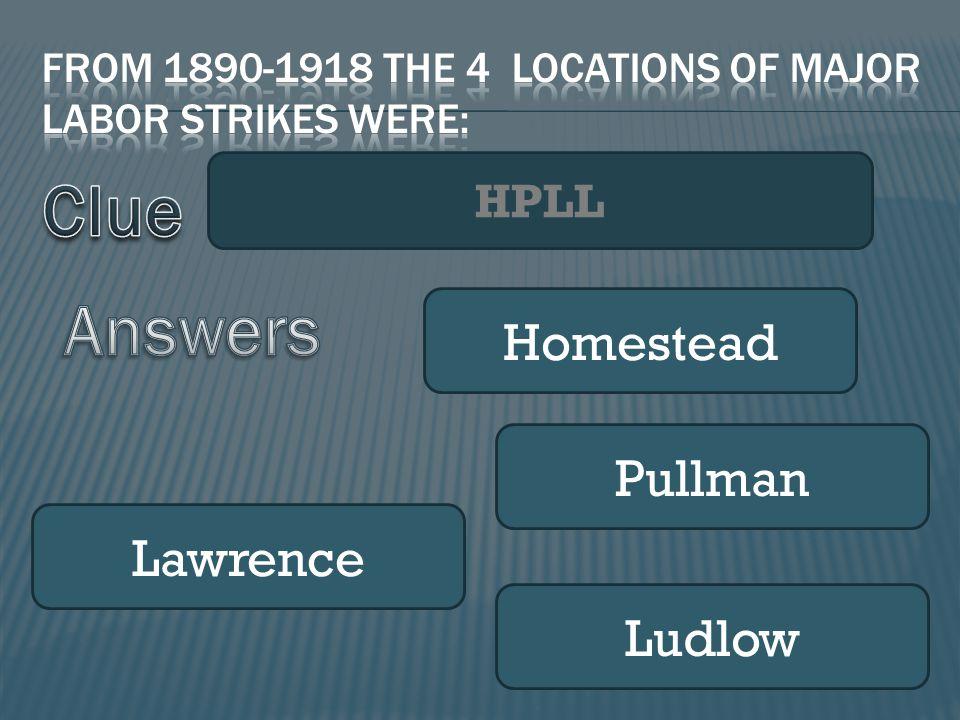 HPLL Homestead Pullman Lawrence Ludlow