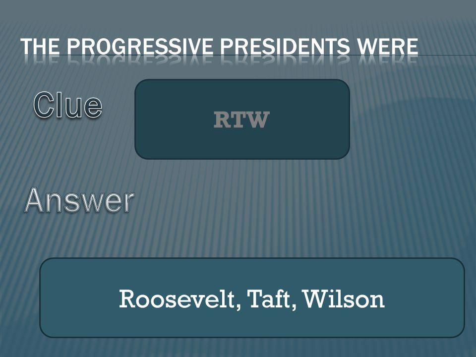 RTW Roosevelt, Taft, Wilson