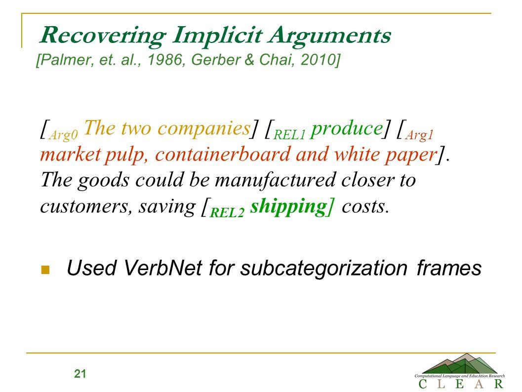 21 Recovering Implicit Arguments [Palmer, et.