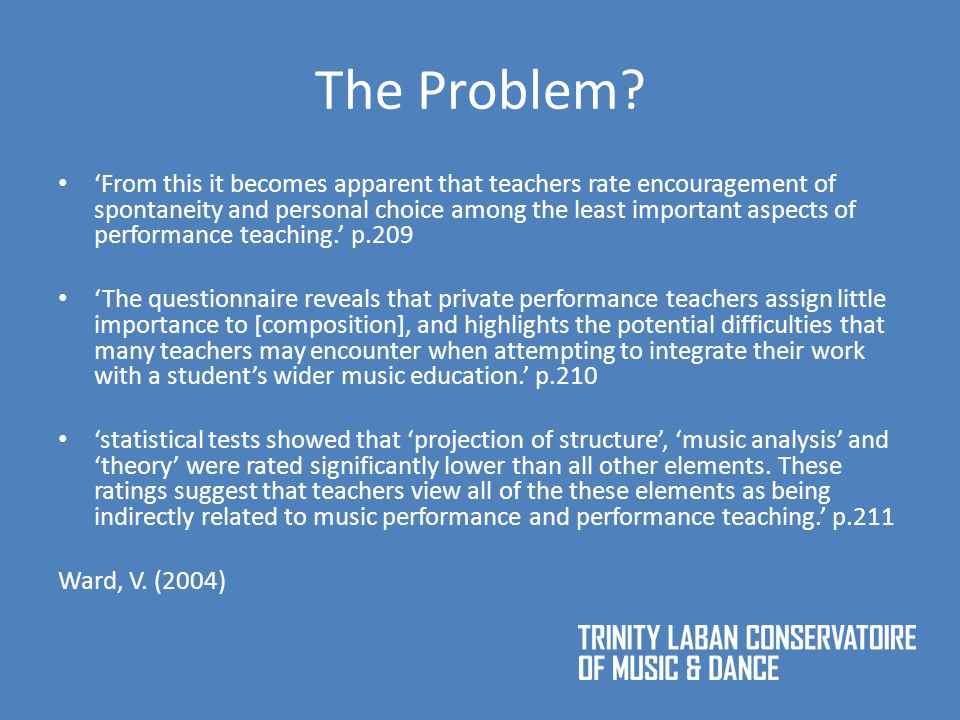 Responses to the task (1) Question about notation/analysis supporting improvisation: 'Having the choice to analyse the music from the score gave me a better understanding of the structure … …which therefore meant that I could produce improvisation of better quality.' Q1 'The notation gives the performer a starting point (notes to use, rhythms).' Q9 'You saw the ideas first and picturing your own melodies were easier then.' Q2