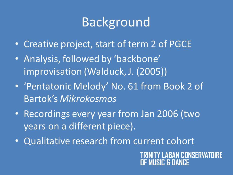 Background Creative project, start of term 2 of PGCE Analysis, followed by 'backbone' improvisation (Walduck, J.