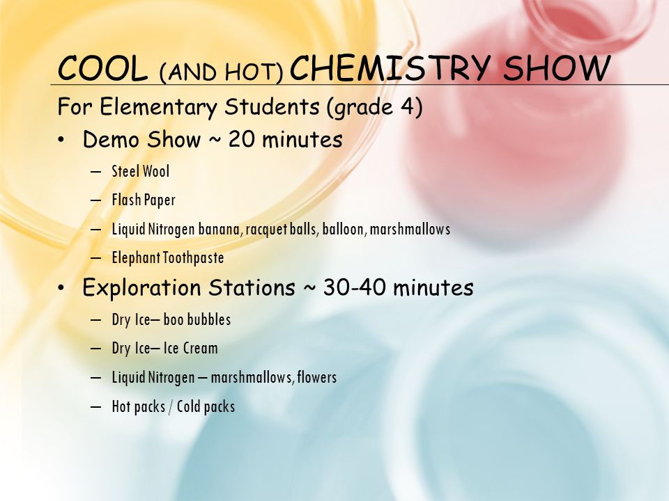 COOL (AND HOT) CHEMISTRY SHOW For Elementary Students (grade 4) Demo Show ~ 20 minutes – Steel Wool – Flash Paper – Liquid Nitrogen banana, racquet ba