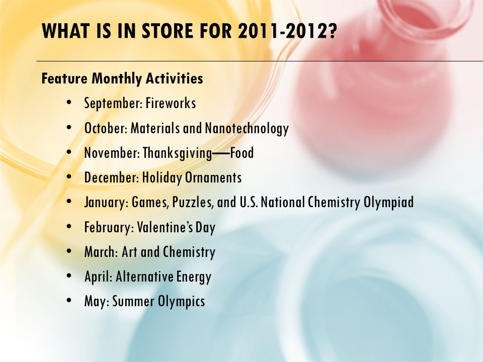 WHAT IS IN STORE FOR 2011-2012.