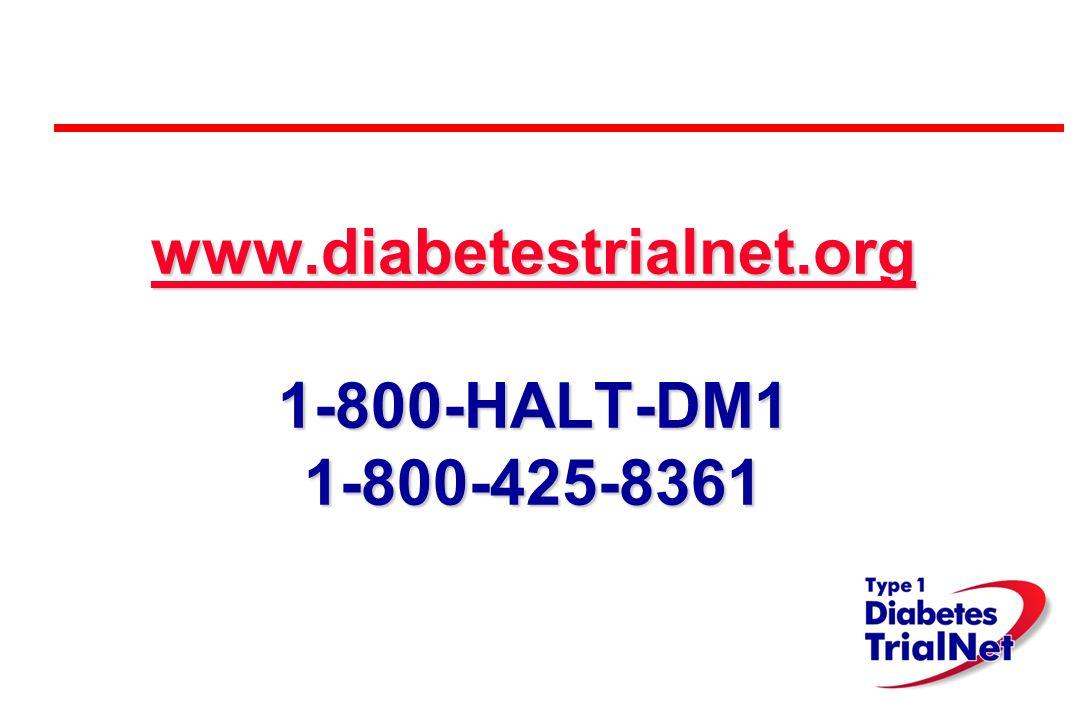 www.diabetestrialnet.org www.diabetestrialnet.org 1-800-HALT-DM1 1-800-425-8361 www.diabetestrialnet.org