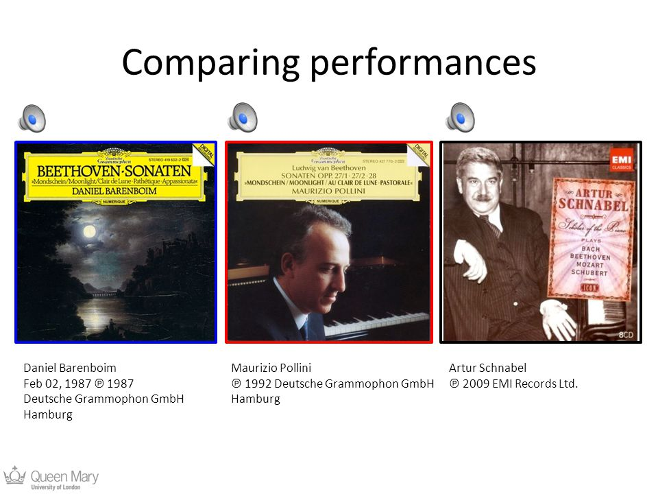 Comparing performances Daniel Barenboim Feb 02, 1987 ℗ 1987 Deutsche Grammophon GmbH Hamburg Maurizio Pollini ℗ 1992 Deutsche Grammophon GmbH Hamburg Artur Schnabel ℗ 2009 EMI Records Ltd.