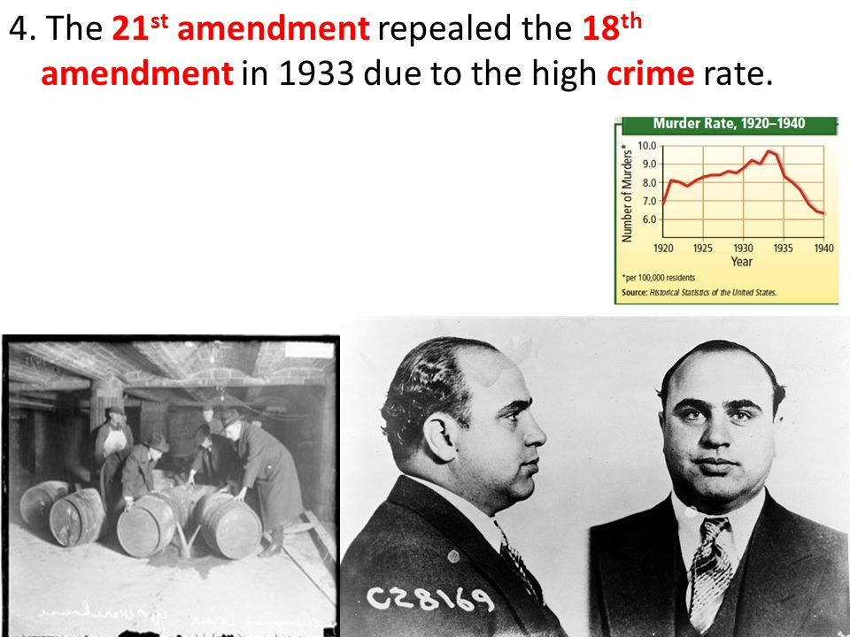 4. The 21 st amendment repealed the 18 th amendment in 1933 due to the high crime rate.