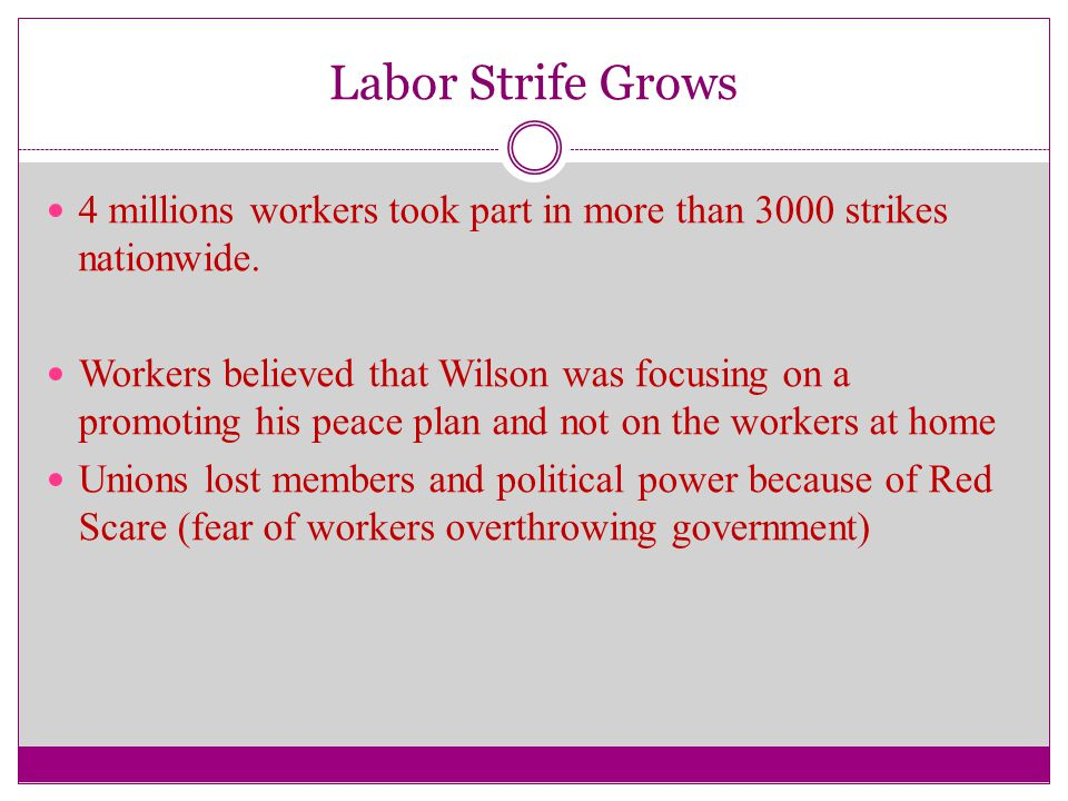 Labor Strife Grows 4 millions workers took part in more than 3000 strikes nationwide.