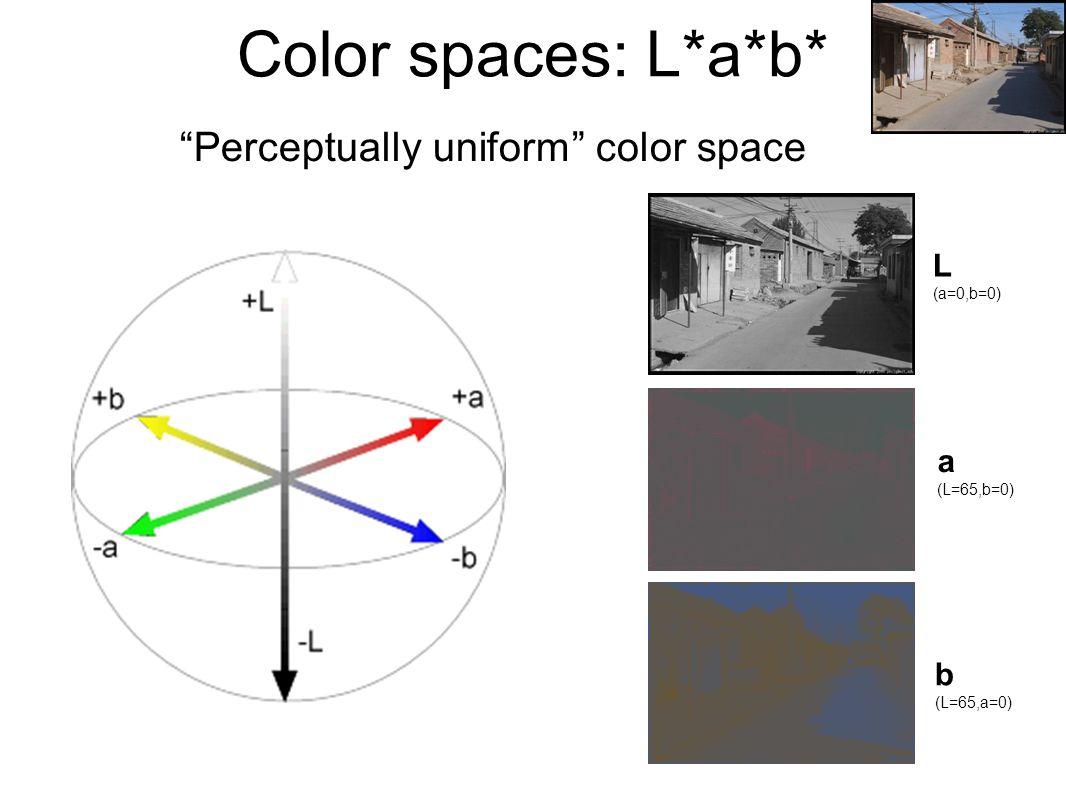 """Color spaces: L*a*b* """"Perceptually uniform"""" color space L (a=0,b=0) a (L=65,b=0) b (L=65,a=0)"""