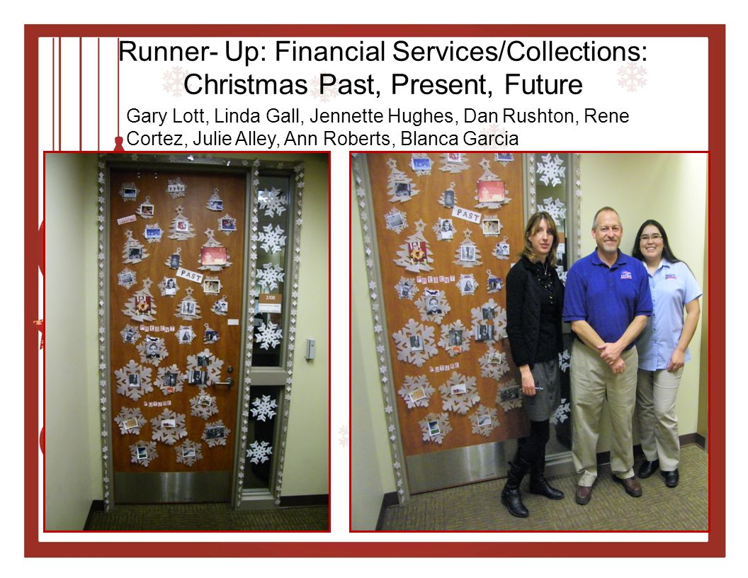 Runner- Up: Financial Services/Collections: Christmas Past, Present, Future Gary Lott, Linda Gall, Jennette Hughes, Dan Rushton, Rene Cortez, Julie Alley, Ann Roberts, Blanca Garcia