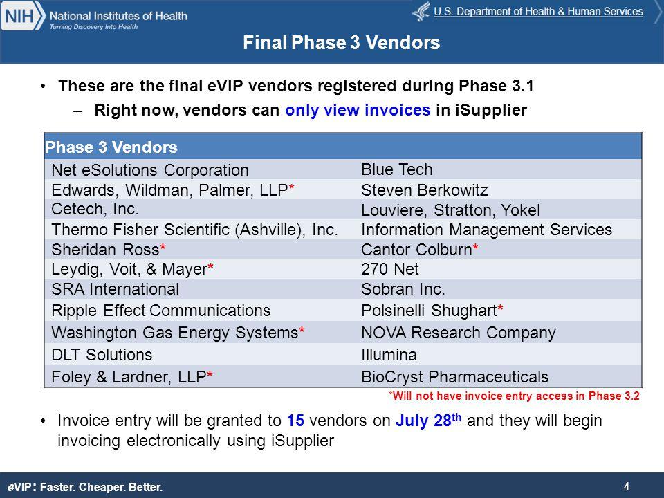 e VIP : Faster. Cheaper. Better. New eVIP Contract Strategy Nieshia Blocker 5